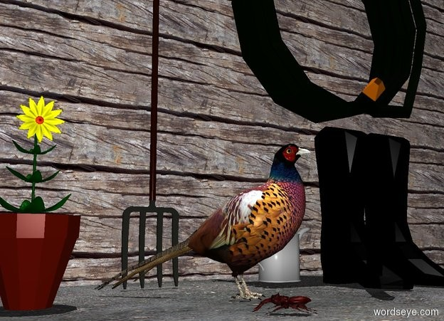 Input text: a 1.5 feet tall pheasant.a flat wall is 1 feet behind the pheasant.it is noon.the wall is 1 inches in the ground.the wall is wood.the pheasant is facing southeast.a black pair is 1 feet right of the pheasant.a flowerpot is 2 inches left of the pheasant.a watering can is behind the pair.it is -3 inches left of the pair.a pitchfork is behind the pheasant.it is in front of the wall.the ground is dirt.a flower is above the flowerpot.the flower's petal is yellow.a hose is above the pair.it is in front of the wall.a beetle is in front of the pheasant.it is facing the flowerpot.
