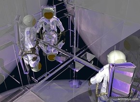 a clear white safe.a 20 inch tall shiny  blue astronaut is -40 inch above the safe.the astronaut is -35 inch left of the safe.ambient light is gray.the astronaut is facing northeast.the backpack of the astronaut is silver.