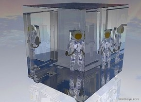 a 100 inch tall and 100 inch wide and 100 inch deep clear white safe.a 70 inch tall shiny blue astronaut is -90 inch above the safe.the astronaut is -35 inch left of the safe.ambient light is gray.the astronaut is facing northeast.it is night.ground is shiny gainsboro.the backpack of the astronaut is silver.