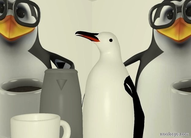 Input text: a 11 foot tall [body] cube. a large penguin is -9.5 feet above the cube. a large coffee pot is  -3 foot above and -.5 foot in front of the penguin. it faces southeast. a large white mug is south of and east of and -1.8 foot above the coffee pot. camera light is dim. ambient light is beige.