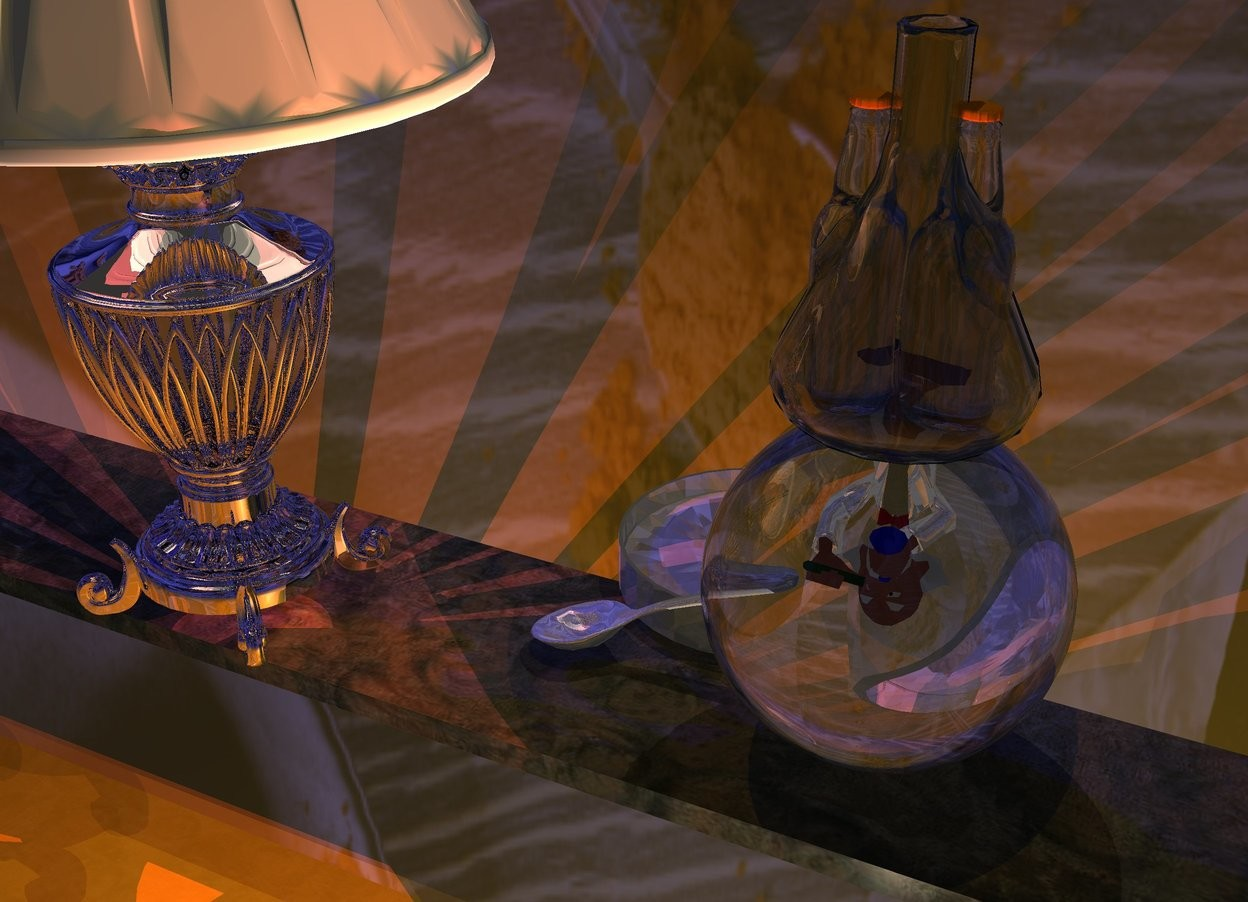 Input text: A beaker is on a clear sphere. Two bottles fit in the beaker. The ground is gold. Camera light is black. A cream light is in front of and -3.5 foot above the beaker. The sky is [pie]. A large shiny grey dish is -3 inch left of and behind and -1.3 feet above the sphere. A large tall silver lamp is 10 inch left of and -1.2 feet above the sphere. A scarlet light is -2.5 feet above the lamp. The sun is navy. A dim light is on the beaker. A long [wood] plank is -3.3 feet above and -1.1 foot behind the lamp. A shiny man fits in the sphere. He is upside down. He is -7.5 inch above the sphere. 2 dim orange lights are below and in front of the man. A large shiny spoon is in front of the dish. It is facing east. It is leaning 30 degrees to the back. A scarlet light is -2 inch in front of the man.