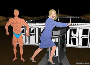 a 140 inch tall and 1000 inch deep and 300 inch wide white house is 100 inch above the ground..a 80 inch tall woman is in front of the white house.a 80 inch tall man is left of the woman.the woman is 150 inch above the ground.it is night.