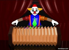 a 100 inch tall shiny accordion.a 200 inch tall and 250 inch wide clown is behind the accordion.a 220 inch tall and 500 inch wide dark  red curtain is behind the clown.sky is black.ground is shiny black.