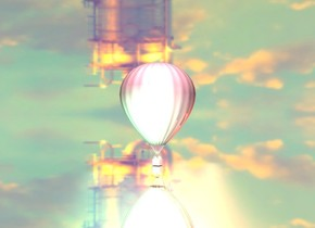 it is noon. a ground is silver. sky is 8000 foot wide [night]. sky is upside down. a 1st 3 foot tall pink balloon. 3 peach lights are behind the balloon. 3 sea green lights are in front of the balloon.