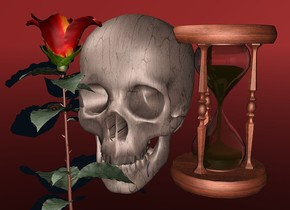 a 110 inch tall [dirt] skull.sky is maroon.ground is clear.a 150 inch tall rose is -65 inch left of the skull.a 100 inch tall hourglass is -15 inch right of the skull.the rose is -155 inch above the skull.the rose is in front of the skull.