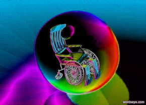 a 20 inch tall sphere.six red lights are 20 inch above the sphere.six blue lights are 2 inch left of the sphere.six green lights are 10 inch right of the sphere.sky is orange. ground is orange.a 9 inch tall black wheelchair is -9 inch above the sphere.the wheelchair is in front of the sphere.the wheelchair is facing southeast.a 2 inch tall shiny antique white sphere is -2 inch above the wheelchair.