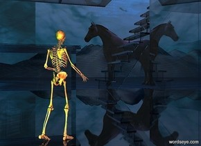 a clear white structure.a 2 feet tall skeleton is -17.95 feet above the structure.it is facing northwest.a green light is 1 feet in front of the skeleton.the sky is picture.the ground is [abstract].the ground is 120 feet tall.a rust light is 1 feet right of the skeleton.a white horse is 17 feet left of the skeleton.it is 3.5 feet behind the skeleton.a mauve light is 1 feet above the horse.