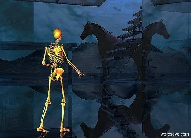 Input text: a clear white structure.a 2 feet tall skeleton is -17.95 feet above the structure.it is facing northwest.a green light is 1 feet in front of the skeleton.the sky is picture.the ground is [abstract].the ground is 120 feet tall.a rust light is 1 feet right of the skeleton.a white horse is 17 feet left of the skeleton.it is 3.5 feet behind the skeleton.a mauve light is 1 feet above the horse.