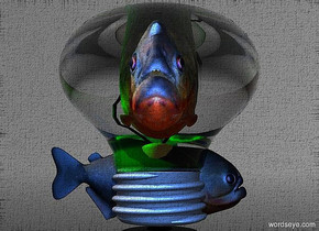 a 210 inch tall and 200 inch wide and 220 inch deep clear white light bulb.sky is gray.ground is clear.six green lights are -80 inch above the light bulb.a 1st 130 inch tall piranha is -140 inch above the light bulb.the 1st piranha leans 10 degrees to the front.six delft blue lights are 60 inch above the 1st piranha.two delft blue lights are in front of the 1st piranha.camera light is delft blue.a 2nd 90 inch tall  dark piranha is -185 inch left of the light bulb.the 2nd piranha is facing the light bulb.