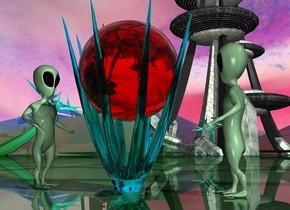a 6 feet tall clear cyan octopus.it is upside down.the octopus is 1 feet in the ground.a 3 feet tall clear red sphere is -3 feet above the octopus.a 1st alien is left of the octopus.he is on the ground.the 1st alien is facing right.a 2nd alien is right of the octopus.he is on the ground.the 2nd alien is facing left.shiny ground.the sky is picture.