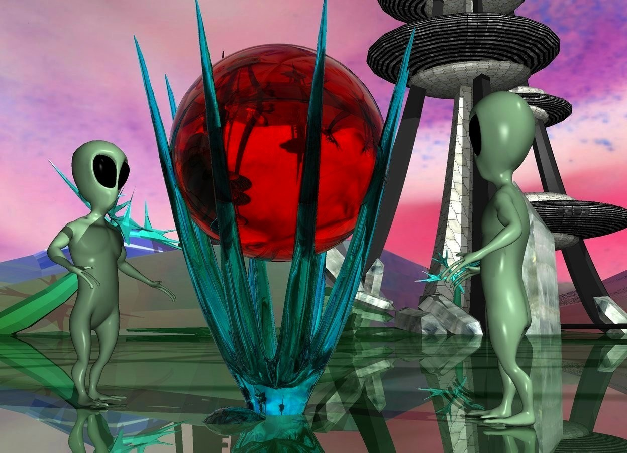 Input text: a 6 feet tall clear cyan octopus.it is upside down.the octopus is 1 feet in the ground.a 3 feet tall clear red sphere is -3 feet above the octopus.a 1st alien is left of the octopus.he is on the ground.the 1st alien is facing right.a 2nd alien is right of the octopus.he is on the ground.the 2nd alien is facing left.shiny ground.the sky is picture.