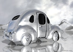 a shiny  car.the car is 8000 inch tall [ice].sky is 3000 feet tall.ground is shiny.the wheel of the car is silver.ground is 70 feet tall.the window of the car is clear white.sky leans 100 degrees to west.