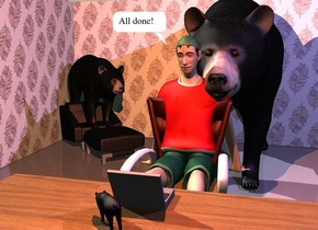 the boy is 3 inches  in the chair. the chair is behind the wood desk. the grey laptop is on the desk. the desk is facing back. the large black bear is -7 inches behind and -2.5 foot to the right of the chair. the 1st [pattern] wall is behind the bear. a 2nd [pattern] wall is to the left of the wall. it is facing right. the 2nd chair is in front of and -6 feet to the left of the 1st wall. It is facing southeast. the 2nd bear -1 feet above the 2nd chair. it is facing southeast. the very tiny third bear is in front of and -6 inches to the left of the laptop. it is facing northwest. the shirt of the boy is red.  the coral light is three feet above the laptop. the camera light is black. the mauve light is  3 feet above and 4 feet to the right of the boy.