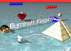 "The ground is water. Sky is red. A giant turtle is next to a whistle. ""Illuminati Kingpins"" is to the right of the turtle. A gray sphere is five feet in front of the turtle. A white cat is inside the sphere. A three foot tall red diamond is six feet behind ""Illuminati Kingpins"". A white cat is inside the diamond. A jet ski is to the right of ""Illuminati Kingpins"". Five red basketballs are three feet above the jet ski. A three foot tall pyramid is 6 feet in front of ""Illuminati Kingpins"". A one foot tall eye is one foot above the pyramid. Five blue basketballs are three feet above the diamond."