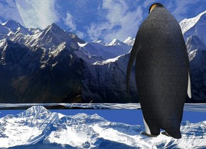 background is mountain. ambient light is linen. ground is 500 feet wide and 500 feet deep and 100 feet tall. ground is 500 foot wide  [mountain]. camera light is dim. ground is dull. sun is ink blue. a marble. a 10 foot tall penguin is 20 feet in front of the marble.