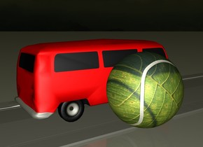 The car is on the grey street. The car is red. The street is 1000 meter long. It is evening. The [Blatt] ball is next to the car. The ball is two meters tall.