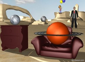 The ground is sand. A brown chair. 1 feet to the left of the chair is a  brown table. pluto is on the brown table. 50 feet behind the brown chair is a large man.   the large saturn is on the chair. a small moon is above and -1 foot  to the left of saturn.   a large boy is -3.5 feet above and 3 feet to the left of the man.