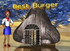 """a 200 inch tall  and 200 inch wide and 100 inch deep wood nose.a 20 inch tall and 35 inch deep and 180 inch wide shiny  orange """"Best Burger"""" is -50 inch above the nose.a 70 inch tall and 70 inch deep  french door is -180 inch above the nose.the french door is -10 inch in front of the nose.the french door is 90 inch wide [wood].a 300 inch tall and 900 inch wide and 300 inch deep delft blue baobab tree is behind the nose.ground is shiny.a 150 inch tall woman is -15 inch left of the nose.the woman is facing southeast."""