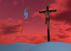 ground is 5 feet tall and 900 feet wide and 40 feet deep..ground is 200 inch wide  [valley] .sun is chili red.ground is   forget me not blue.camera light is gray.a 30 inch tall clear white marble is on the ground.a 66 inch tall crucifix is 37 inch above the ground.the crucifix is 15 inch right of the marble.a 50 inch tall and 15 inch deep  forget me not blue bird is 20 inch left of the crucifix.the bird is facing the crucifix.the bird is -50 inch above the crucifix.