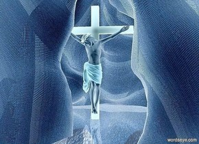 a 1000 inch tall and 2000 inch wide and 1000 inch deep  cave.the cave is 120 inch wide [sand].ground is 1000 inch tall  [sand].a 700 inch tall crucifix is -500 inch in front of the cave.the crucifix is -1200 inch above the cave.