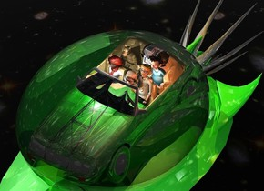 a 7 feet tall and 48 feet long shiny green  spaceship is 20 feet above the ground. a 22 feet tall and 18 feet wide and 14 feet deep clear egg is -7 feet above the spaceship.it leans 90 degrees to the front. a 5 feet tall shiny green [metal] car is -9.9 feet above the egg. 3 bright gray lights are above the car. the tire of the car is shiny green. a 3.5 feet tall [hair] dog is -3 feet above and  -6.5 feet behind and -3 feet left of the car. a man is -10 feet behind and -3 feet right of and -5.5 feet above the car.he leans back. a woman is -8.7 feet behind and -6.2 feet above and -3 feet left of the car. she leans 10 degrees to the back.a 4 feet tall and 2.5 feet wide robot is -5.8 feet behind and -3.7 feet above and -5 feet left of the car. 1st 4 feet tall boy is -4 feet above and -3 feet right of and -6 feet behind the car. 1st enormous silver octopus  is -12 feet behind and -12 feet above the spaceship. it leans 100 degrees to the front. the sky is 1200 feet tall [texture]. the ground is clear. a coral light is right of and -1 feet above the man. a orange light is above the octopus. 2nd 3.1 feet tall boy is -9 feet behind and -3.8 feet above and -4.2 feet left of the car. a 1.2 feet tall tan head of hair is -.88 feet above and -1.57 feet left of and -1.77 feet in front of the 2nd boy.