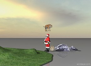 santa claus is next to a giant pinecone. the tiger is 1 foot above santa facing left. grassy hills. blue ocean waves. the sun.