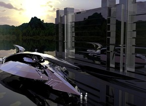 A large silver spaceship is -60 feet behind a silver spaceship. The ground is clear. A 200 feet long and 50 feet high black shiny building is 15 feet right of the spaceship. It is facing east. A forest is in the background. The background is short and dark. The azimuth of the sun is 180 degrees. An alien is in front of the spaceship. An alien is in front of and right of the alien