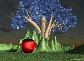 ground is 25 feet tall and 200 feet wide and 800 feet deep.ground is 200 inch wide [grass]..sky is 2000 feet tall.a 1500 inch tall delft blue baobab tree is on the ground.a 100 inch tall apple is 1500 inch behind  the baobab tree.