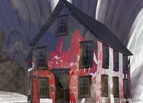 a 20 feet tall shiny red gargoyle is -25 feet above a clear house.a 100 feet tall clear sphere is -75 feet above the house.the ground is 300 feet tall.the ground is texture.the sun is silver.