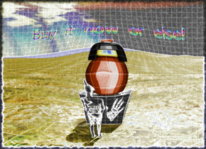 "The large [paint] cube is on the dirt mountain range.    The huge toy is on the [paint] cube.  The small rainbow ""Buy it now or else!"" is  a few inches above the toy.   The toy is facing a short Basotho human.  ""Buy it now or else!"" is facing the human.   The human  is a few feet to the right of the  [paint] cube.  The human is facing the cube.   The [paint] cube is a few feet to the left of the human."