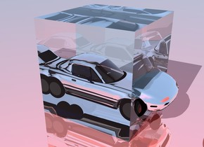 the sky is azure blue. the ground is shiny. the camera light is red. a giant cube. the camera light is facing the giant cube. the giant cube is transparent. a small car -3.5 feet above the cube. the car is silver. the very small car  is facing the cube. the very small car is 2.2 feet in front of the cube.     .    ..