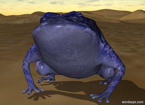 blue frog is standing