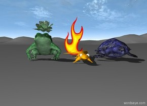 blue green frog is standing. small green plant is in blue green frog. huge orange salamander is to the right of frog. fire is behind salamander. tiny blue turtle is to the right of salamander.