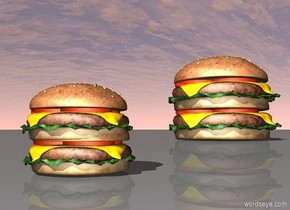 The first burger is in the second burger. A third huge burger is 4.5 feet to the right of the second burger. A fourth huge burger is in the third burger.