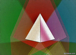 a 900 inch wide and 700 inch tall gray wall.a  150 inch tall  tetrahedron is 350 inch in front of the wall.two 40% dim green  lights are 5 inch above the  tetrahedron.the  tetrahedron is -500 inch above the wall..sky is black.two 60% dim red lights are 5 inch in front of the tetrahedron.two 50% dim blue lights are 5 inch left of the tetrahedron.two 40% dim teal lights are 5 inch right of the tetrahedron.camera light is black.two 30% dim pink lights are 7 inch above the tetrahedron.