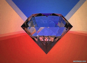 a 900 inch wide and 700 inch tall gray wall.a  150 inch tall  diamond is 350 inch in front of the wall.two 40% dim green  lights are 5 inch above the  diamond.the  diamond is -470 inch above the wall..sky is black.two 70% dim  red lights are 5 inch in front of the diamond.two 30% dim blue lights are 5 inch left of the diamond.two 40% dim teal lights are 5 inch right of the diamond.camera light is black.two 20% dim pink lights are 7 inch above the diamond.