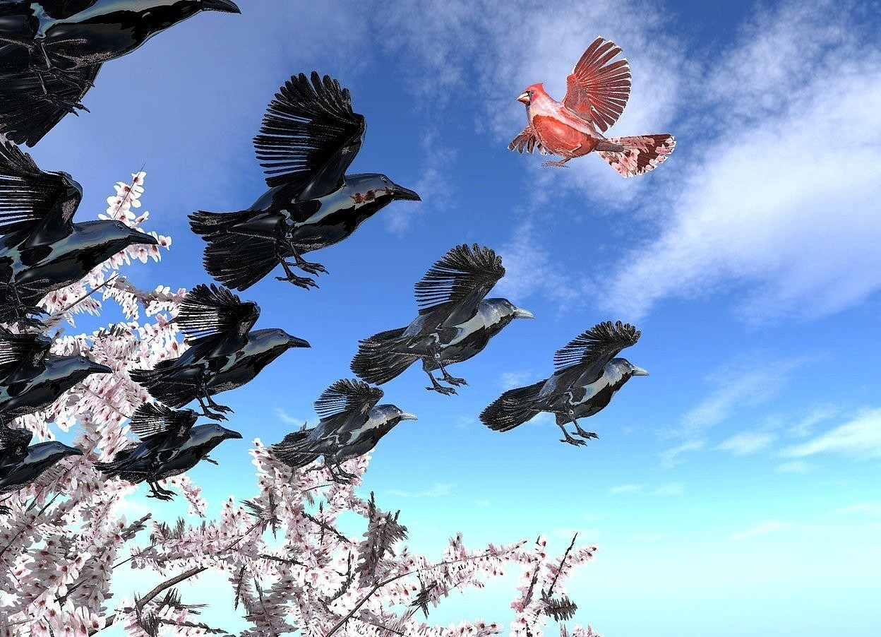 Input text: a 1st shiny raven is in the sky. 2 shiny crows are behind the 1st raven. 3 shiny black birds are behind the crows. 4 shiny black fowls are behind the birds. a large shiny cardinal is  above and behind the 1st raven. it faces back. a big tree is on the ground. it is to the right of the fowls. ground is black.