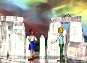 a shiny stonehenge.it is 6 inches in the ground.a man is -12.3 feet above stonehenge.stonehenge is rock.a woman is 3 feet in front of the man.she is right of the man.the sky is picture.the picture is 5000 feet tall.a 1st bird is 3.7 feet above the man.the 1st bird is 5 feet left of the man.the 1st bird is facing southeast.a 2nd bird is 3 inches in front of the 1st bird.it is facing northwest.