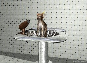 a 170 inch tall and 200 inch wide and 180 inch deep silver pedestal sink.a 1000 inch wide and 1000 inch tall [tile] wall is 40 inch behind the sink.ground is [tile].a 80 inch tall cat is -60 inch above the sink.the cat leans 20 degrees to back.a 100 inch tall and 30 inch wide and 100 inch deep  hair dryer is to the left of the cat.the hair dryer is facing southeast. It is leaning 20 degrees to the back. The huge jellyfish is -2.9 foot above the cat. It is facing right. It is leaning 140 degrees to the back.