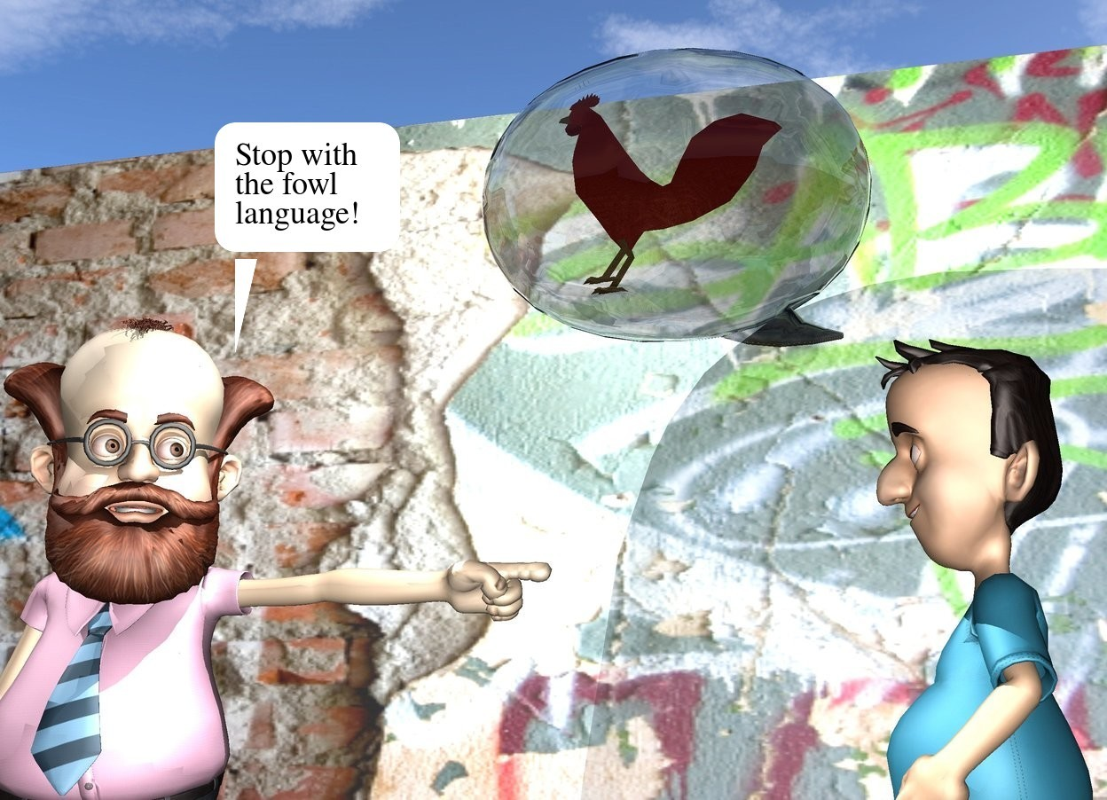 Input text: a man.a boy is 2 feet right of the man.he is facing the man.a flat wall is 1 feet behind the man.the wall is [graffiti].the ground is dirt.   the white talk balloon is above and -6 inches to the left of the boy. it is facing back.  the chicken fits in the talk balloon. it is facing left. the light is above and to the left of the chicken.