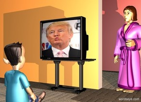 a tv is on a table. the tv's screen is [trump]. a 3 foot tall boy is 2 feet in front of the table. he faces the tv. a 1st 70% linen wall is behind and -3 feet left of the table. a 2nd large 70% raspberry rose wall is 10 feet behind and -8 feet right of 1st wall. ground is 5 foot wide carpet. a woman is right of 1st wall. she faces the boy. ground is matte. a camel light is 5 feet right of and -1 foot above the boy.