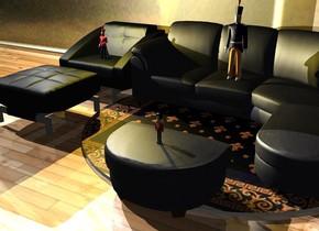 A nutcracker is on an ottoman. A sofa is behind the ottoman. A huge nutcracker is on the sofa. A chair is left of the sofa. A large nutcracker is on the chair. The sofa is on a rug. The ground is shiny wood. A huge [parlour] wall is 2 feet behind the sofa. Camera light is black. A light is left of and above the chair. A light is right of the sofa. A lemon light is above the nutcracker.