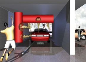 1st 40 feet long [metal] wall is on the ground. 1st 7 feet tall and 2 feet wide red tube is -12 feet left of and -7.2 feet above and 1 feet in front of the wall. 2nd 7 feet tall and 2 feet wide red tube is .2 feet in front of and -2.5 feet above the 1st tube. it leans 90 degrees to the front. 1st huge jellyfish is -4.6 feet above and -1 feet in front of the 1st tube. it leans 90 degrees to the back. 2nd huge jellyfish is -4.5 feet above  the 1st jellyfish. it leans 90 degrees to the back. 3rd huge jellyfish is -2.5 feet to the back of and -4.5 feet above the 2nd tube. 4th huge jellyfish is -.1 feet in front of the 3rd jellyfish. 5th huge jellyfish is -.1 feet in front of the 4th jellyfish. 1st car is -26 feet right of and 4 feet in front of the wall. it faces left. 2nd 40 feet long [metal] wall is 2 feet in front of the car. 3rd 40 feet tall and .3 feet wide [metal] tube is -1.2 feet in back of the car. it leans 90 degrees to the left. a [metal] air vent is .8 feet in front of and -14 feet left of and -.4 feet above the 3rd tube. it leans 90 degrees to the front. the ground is dull [stone]. 3rd 40 feet long and 15 feet tall wall is above and in front of the 1st wall. it leans 90 degrees to the front. a boy is 1 feet left of and 2 feet in front of the 1st wall.he faces right. he leans 10 degrees to the left. 2nd boy is 5 feet in front of the 2nd wall. he faces right. 2nd copper car is 4 feet right of the 2nd boy. it faces back. a [texture] car dealership is 15 feet right of the 1st wall.it faces left. a 3.7 feet tall dog is -10.6 feet left of and -2.35 feet above and -2.47 feet in front of the 1st car. it faces left. a sea blue light is above the dog. a .29 feet wide [metal] sphere is -.15 feet left of the 3rd tube.