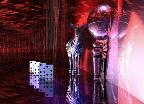 A large silver sphere is on a silver group. The ground is 75 feet wide shiny [byte]. A location. A navy light is left of the group. A huge domino is 2 feet left of the group. A huge domino is 1 foot behind and left of the domino. A pink light is behind the domino. A pink light is behind the light. A purple light is above the light. A navy light is right of the domino. A huge domino is 1 foot behind and left of the domino. A huge domino is 1 foot behind and left of the domino. A small zebra is behind and left of the group. Camera light is black. A sea blue light is 10 feet in front of the domino.