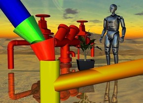 a 1st 100 inch tall yellow tube.a 1st 12 inch tall upside down shiny red cone is -8 inch above the 1st tube.the 1st cone leans 17 degrees to east.a 2nd 12 inch tall upside down shiny green cone is -8 inch above the 1st cone.the 2nd cone leans 40 degrees to east.the 2nd cone is -13 inch right of the 1st cone.a 2nd 100 inch tall blue tube is -4 inch above the 2nd cone.the 2nd tube leans 35.5 degrees to east.the 2nd tube is -69.5 inch right of the 2nd cone.a 3rd 100 inch tall and 4 inch wide orange tube is -5 inch behind the 1st tube.the 3rd tube leans 80 degrees to east.the 3rd tube is facing north.the 3rd tube is -2 inch right of the 1st tube.the 3rd tube is -8 inch above the 1st tube.a 200 inch tall rust compound object is 500 inch behind the 3rd tube on the ground.the compound object is facing southeast.ground is shiny.a 210 inch tall shiny 10% dim delft blue crash dummy is in front of the compound object.the crash dummy is -140 inch right of the compound object.the crash dummy is facing southwest.a 120 inch tall green bat flower is left of the crash dummy.the bat flower is 15 inch above the ground.