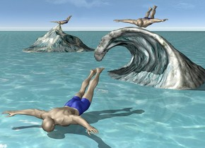 The man is -1 inches above the ground. The ground is water. The man is upside down. he is facing back. the large wave is 5 feet behind the man. it is 2 inches in the ground. The second man is -1 inch above the wave. he is upside down. he is facing back. a 2nd huge wave is 9 feet behind and 12 feet to the left of the wave. the third man is -1 inch above and -16 feet in front of the wave. he is upside down. he is facing back.