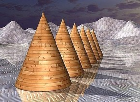 a 1st 100 inch tall and 80 inch wide  [wood] cone.ground is 70 inch tall  [steel].ground is 60 feet tall.a 2nd 100 inch tall and 80 inch wide [wood] cone is in front of the 1st cone.a 3rd 100 inch tall and 80 inch wide [wood] cone is behind the 1st cone.a 4th 100 inch tall and 80 inch wide [wood] cone is behind the 3rd cone.a 5th 100 inch tall and 80 inch wide [wood] cone is behind the 4th cone.ground is shiny.sky is 2900 feet tall.a 6th 100 inch tall and 80 inch wide [wood] cone is behind the 5th cone.