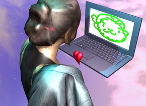 There is a woman. a computer is in front of the woman. the computer is facing the woman. the screen of the computer is [peepo]. the computer is 4.5 feet above the ground. a 3 inch tall pink heart is behind the computer. the ground is silver. a pink light is above the computer. a cyan light is above the woman.
