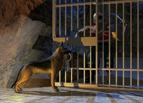 A dog is in front of and -2 feet left of a shiny [rust] sliding door. It is facing the door. A large cave is -4.1 feet behind the door. The sky is black. The ground is [stone]. Camera light is black. An orange light is in front of and -2 foot left of the dog. The cave is -4 inch above the ground. A man is behind the door. He is -2 inch above the ground. A dim cyan light is on the man. A 7 inch wide gold ring is -1.37 foot above and -9 inch behind and -10 inch right of the dog. A first 10 inch long silver key is -1.4 foot above the ring. It is leaning 90 degrees to the left. It is facing east. A 10 inch long gold key is right of the key. It is leaning 75 degrees to the left. It is facing east. A 10 inch long gold key is left of the first key. It is leaning 85 degrees to the left. It is facing west. A navy light is above the man.