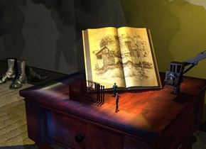 A [graphic] book is on a table. It is leaning 40 degrees to the back. It is facing southeast. The ground is 4 feet wide [carpet]. A very long dark [stained] wall is 2 feet behind the table. The sun is black. A 50 feet long black 25% shiny plank is in front of the wall. It is 8 inch deep. It is leaning 90 degrees to the back. Camera light is black. A lemon light is above the book. A sea blue light is in front of and above the table. A boot is 5.5 feet left of the table and in front of the wall. A dark boot is right of the boot. It is facing southeast. A 3 inch high building is in front of the book. It is facing east. It is -.2 inch above the table. A grey light is -3.5 inch above the building. A 2 inch high man is 2 inch right of the building. He is facing the building. A 2 inch high man is 3 inch behind and 2 inch left of the man. He is facing the book. He is -.2 inch above the table. A 9 inch high 20% shiny black crane is right of the book. A 2 inch high man is -7.5 inch above and -1 inch in front of and -2.5 inch left of the crane.